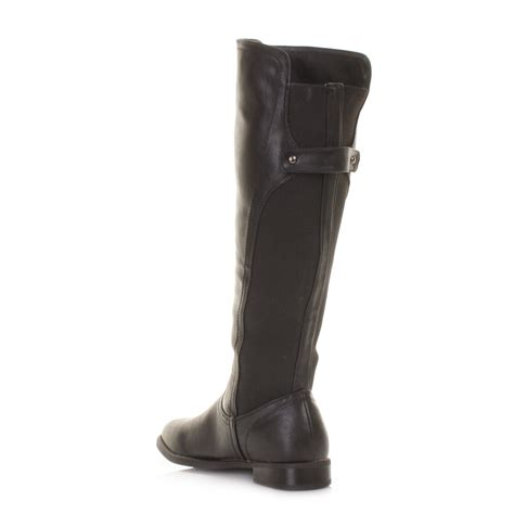 knee high boots cheap womens black back gusset flat leather style