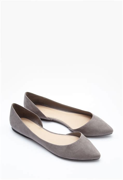 suede flats shoes lyst forever 21 pointed faux suede flats in gray