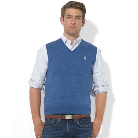 Sweater Vest Polo Ralph V Neck Merino Wool Sweater Vest In Blue