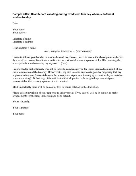 best photos of business letter template termination issues for renters rental agreement