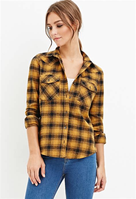 Kemeja Flannel Tartan Gradation Black 1 lyst forever 21 tartan plaid flannel shirt you ve been added to the waitlist in yellow