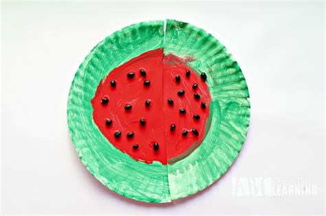 Watermelon Paper Craft - easy and simple paper plate watermelon craft project