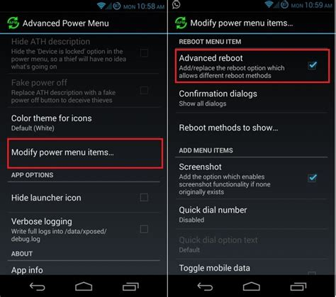 android boot menu add reboot recovery soft reboot option on android power menu