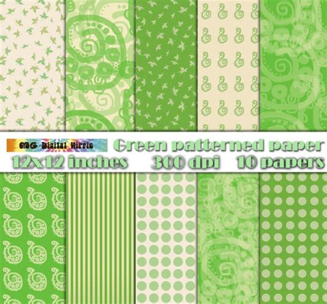 Yellow Patterned Craft Paper | digital patterned paper green yellow paper pack green