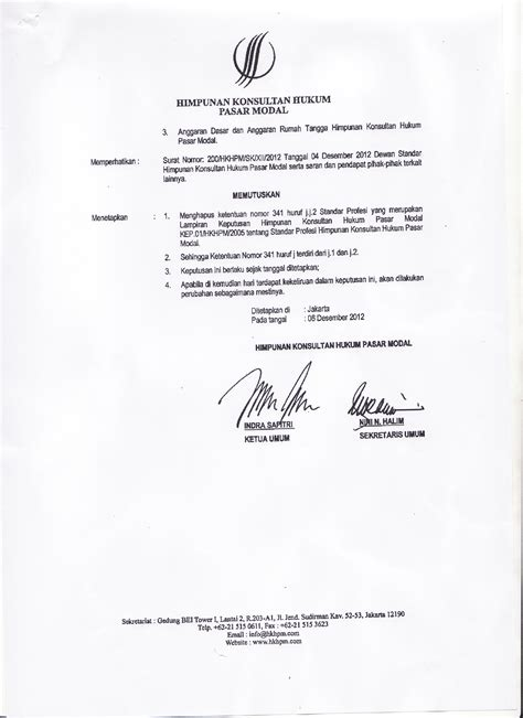 keputusan himpunan konsultan hukum pasar modal nomor kep