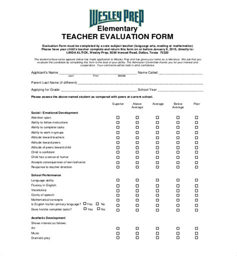 teaching evaluation form 18 sle evaluation forms sle forms