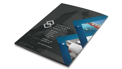 free blue diamond logistics corporate folder template on