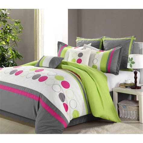 teen girl comforter green grey king 8 pieces comforter set bed in a bag teen