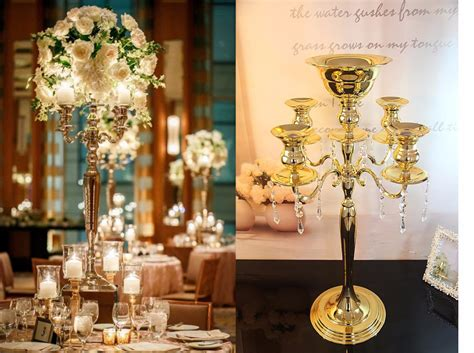 Candle Vase Wedding Centerpieces by H75cm W48cm 5 Arms Gold Metall Candle Holder