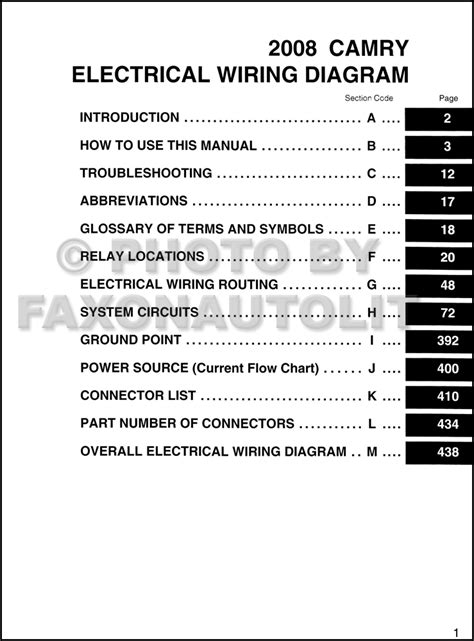 2008 toyota camry wiring diagram manual original
