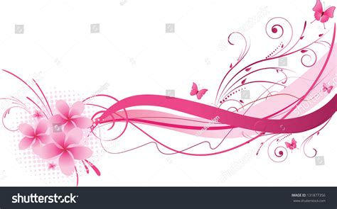 Wave And Flower frangipani flowers wave floral design pink stock vector