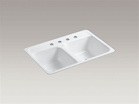 flush kitchen sink standard plumbing supply product kohler k 5950 4 0 delafield 32 quot x 21 quot flush mount