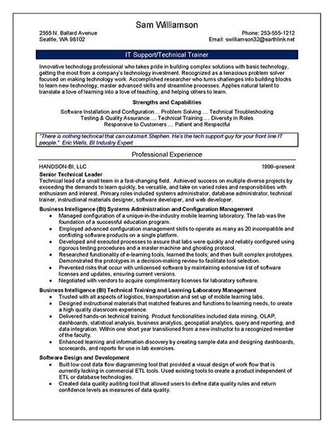 resume format for technical trainers technical trainer resume exle