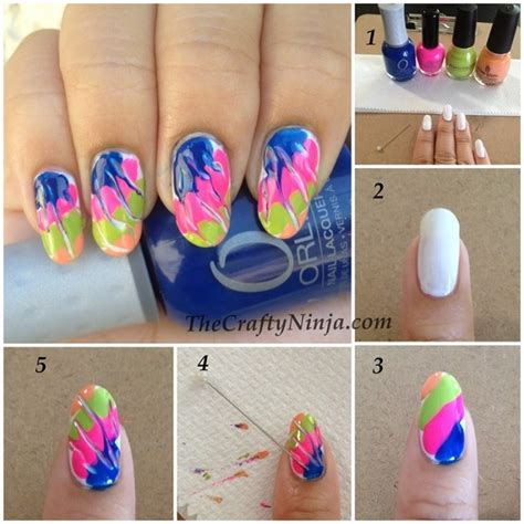 nail art needle pen tutorial colorful tie dye style for painted nails www