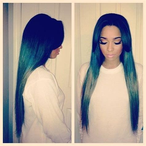 pics of sew ins with bangs and long hair in the back long green ombre sew in w 2 side bangs hair work 2