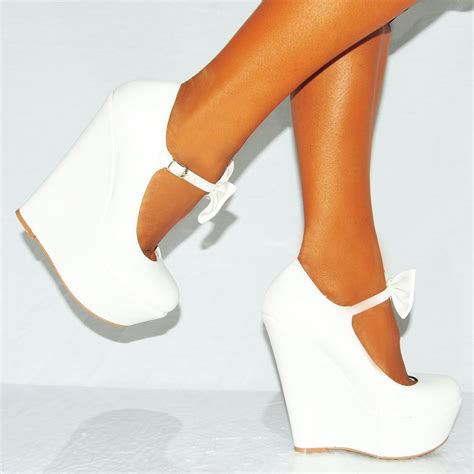 high heeled wedges white pu faux leather bow high heel wedge platforms shoes