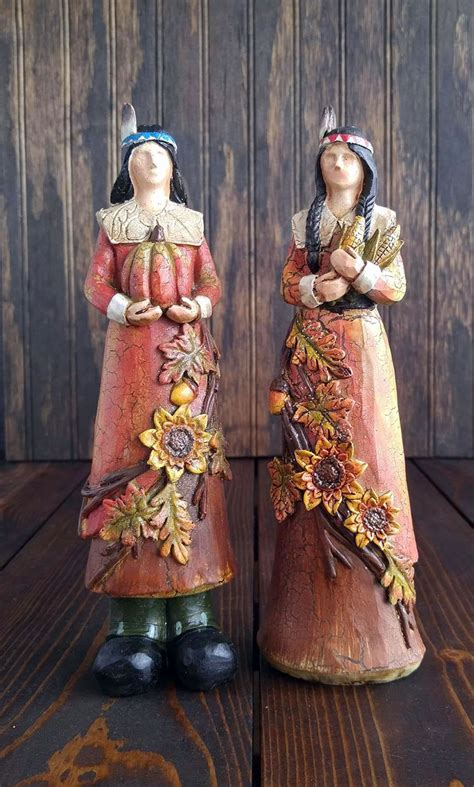resin pilgrim and indians figurines thanksgiving decor s handiwork the patch