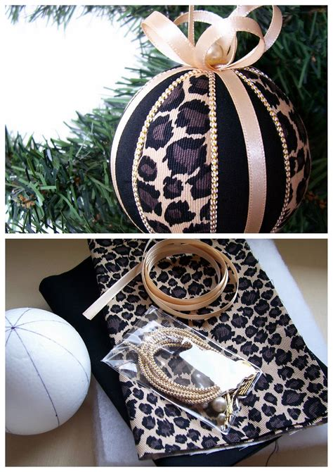 christmas ornament kit leopard stripes kimekomi