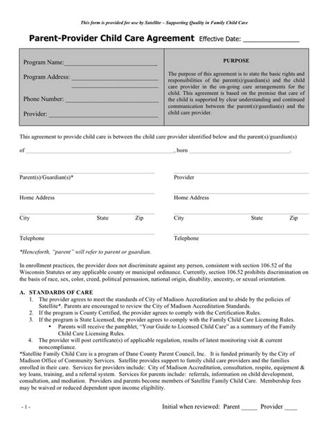 child care agreement template parent provider child care agreement sle in word and