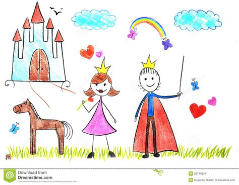 Kids Drawing Princess And Prince Stock Illustration Illustration Of Abstract Cartoon 28748624 Children Drawing Picture