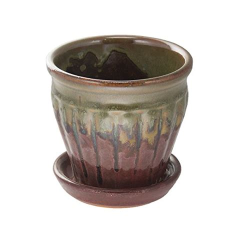 Indoor Planters With Saucers by Set Of 6 Pennington 4 Quot Glazed Ceramic Planter Pots Drain