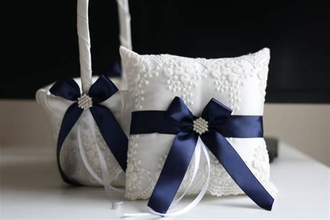 Navy Blue Ring Bearer Pillow - navy blue ring bearer pillow and wedding basket by