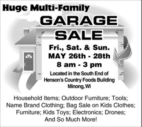The Advocate Garage Sales by Multi Family Garage Sale May 26 28 Outdoor