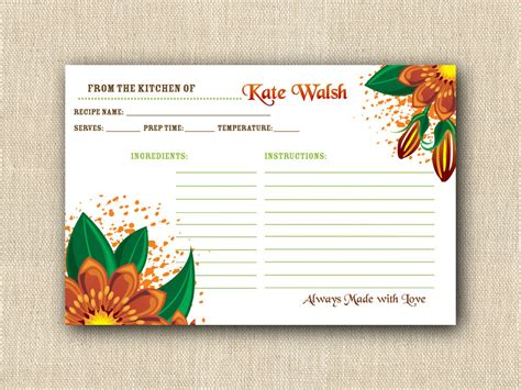 personalized recipe cards template personalized floral recipe cards printable