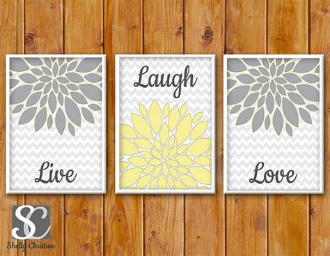 free printable wall art yellow instant download floral flower burst gray yellow set of 3