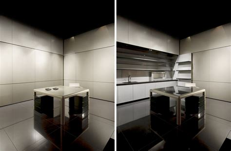 disappearing sleek polish kitchen design calyx armani casa digsdigs