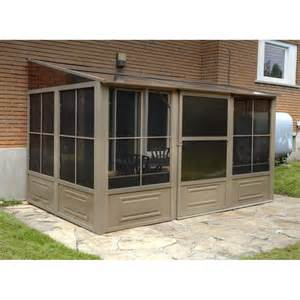 Screened Gazebos At Lowes by Shop Gazebo Penguin Add A Room Brown Aluminum Rectangle