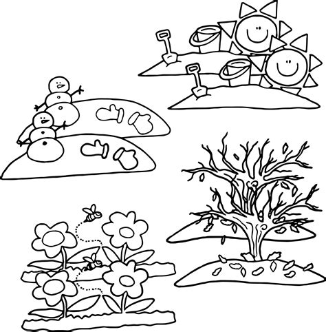 four seasons coloring page printable sketch coloring page