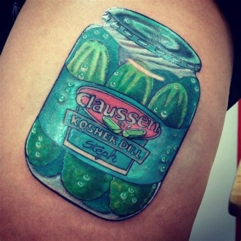 pickle tattoo jar of claussen pickles thigh claussen