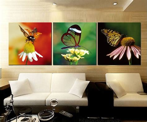 cheap living room wall decor 2017 flower and butterfly canvas painting print picture