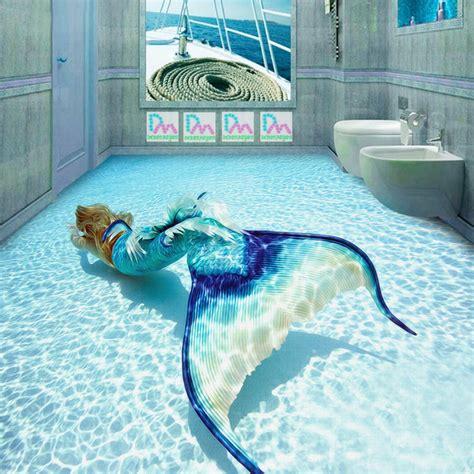 Tile Wall Murals aliexpress com buy 3d mermaid wallpaper ocean photo
