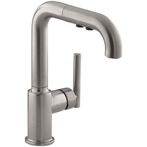 kohler purist kitchen faucet kohler purist single handle pull out sprayer kitchen faucet in vibrant stainless k 7506 vs the