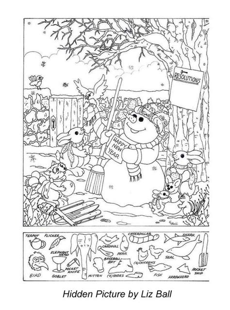 printable holiday hidden pictures new year s day hidden picture puzzle coloring page