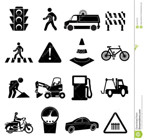 traffic signs icons set stock vector image 44173175