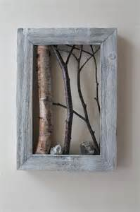 birch wood decor white birch bark wall hanging framed tree branch cottage