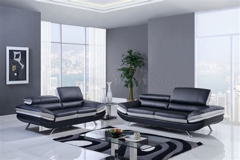 black and grey leather sofa u7110 sofa loveseat in black grey bonded leather by global
