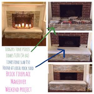 brick fireplace makeover for the home