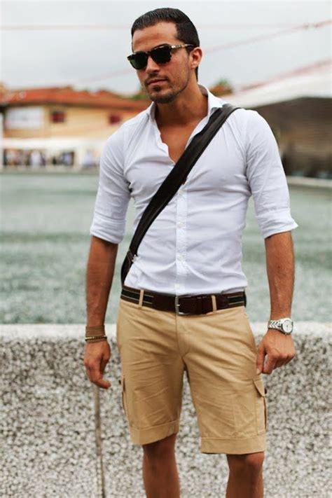 s white sleeve shirt shorts brown