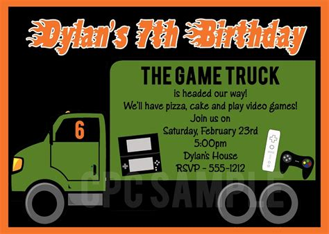 game truck layout invitation wording for video game party images