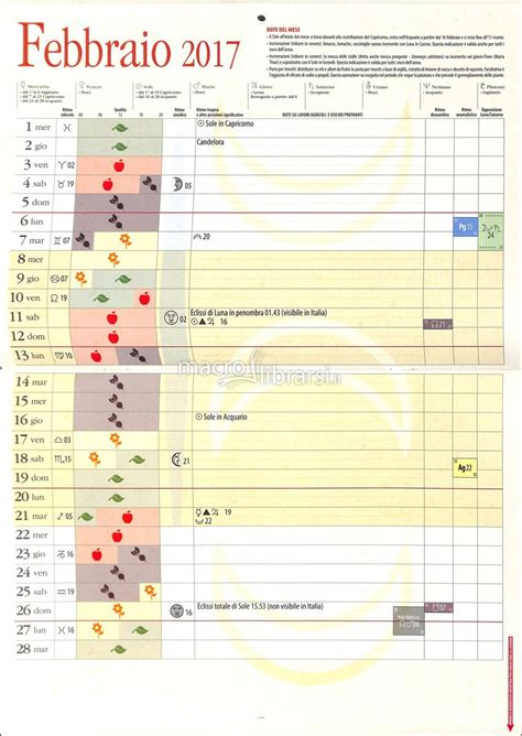 Calendario Biodinamico 2017 Calendario Dei Lavori Agricoli 2017 Masson