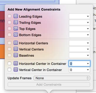 Auto Layout Constraints Xcode 6 | uiscrollview cannot add new alignment constraints auto
