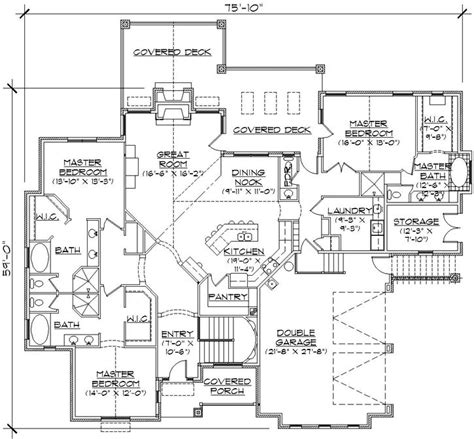 house plans with 2 master suites on floor 3 master suites home plans