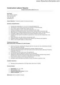 resume template for laborer resume sle for construction worker free resume templates
