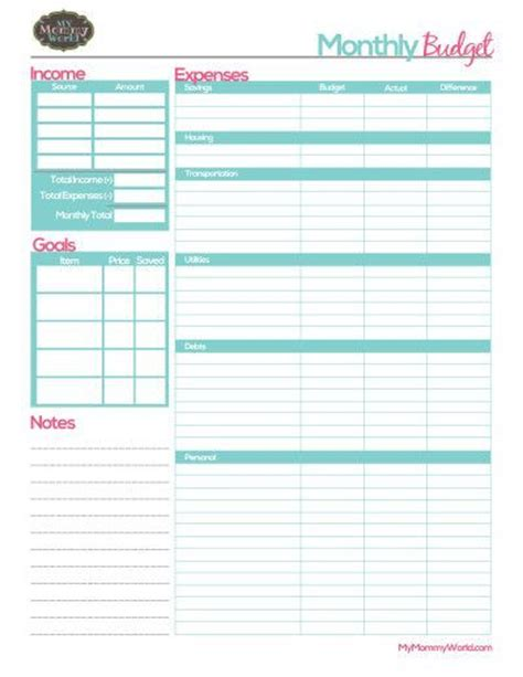 monthly budget printable ideas pinterest