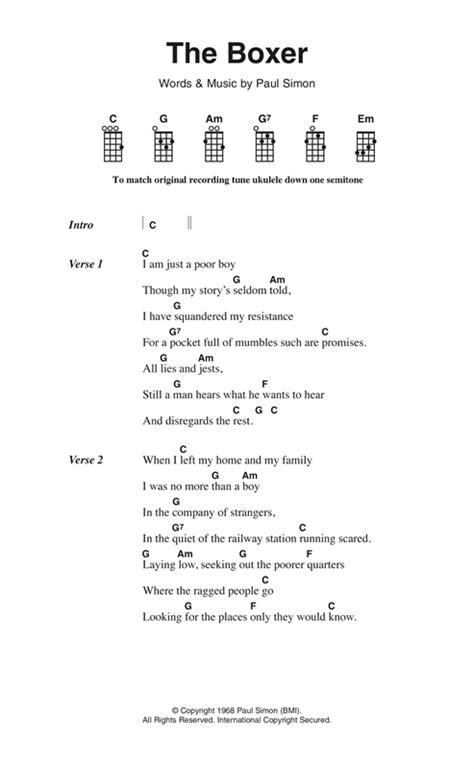 tutorial guitar the boxer the boxer sheet music by simon garfunkel ukulele lyrics