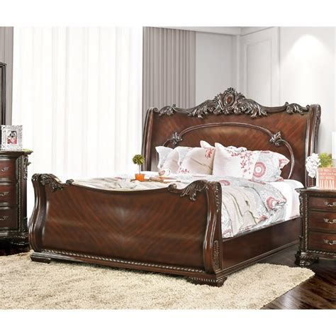sleigh bedroom set king furniture of america helvetta california king sleigh bed